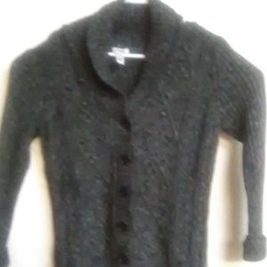 Women's IZOD Gray Button Down Sweater Size M